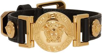 Versace Black Leather Medusa Bracelet $475 thestylecure.com