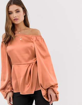 Asos Design DESIGN long sleeve off shoulder top in satin