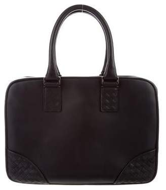 Bottega Veneta Intrecciato-Trimmed Leather Briefcase