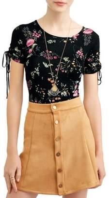 Self Esteem Juniors' Printed Ruched Short Sleeve T-Shirt w/ Necklace 2Fer