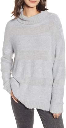 Chelsea28 Sequin Stripe Cowl Neck Sweater