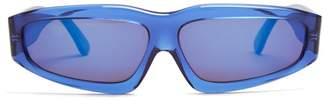 Marques Almeida Marques'almeida - Transparent Angular Frame Acetate Sunglasses - Womens - Blue