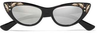 Cat-eye Acetate Mirrored Sunglasses - Black