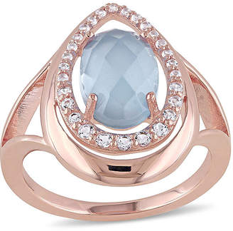 FINE JEWELRY Genuine Chalcedony and White Topaz Rose Gold Over Silver Ring