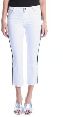 KUT from the Kloth Kick Flare Side Stripe White Jeans