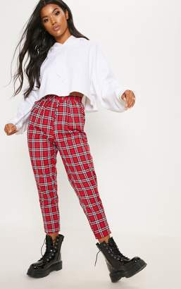 PrettyLittleThing Diya Red Check Printed Casual Trouser