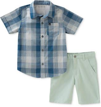 Calvin Klein 2-Pc. Plaid Cotton Shirt & Shorts Set, Little Boys