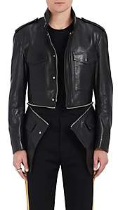 Alexander McQueen Men's Zip-Detailed Leather Military Jacket - Black