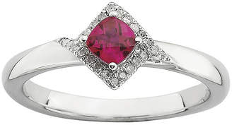 JCPenney FINE JEWELRY Personally Stackable 1/10 CT. T.W. Diamond and Lab-Created Ruby Ring