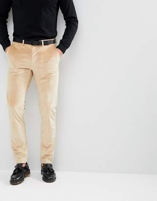 Asos Design Skinny Leg Pants In Caramel Velvet
