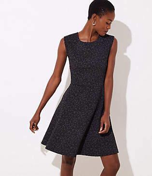 LOFT Leopard Jacquard Flare Dress