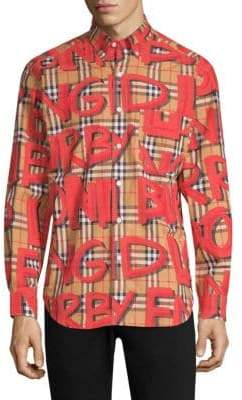 Burberry Jameson Red Graffiti Check Shirt