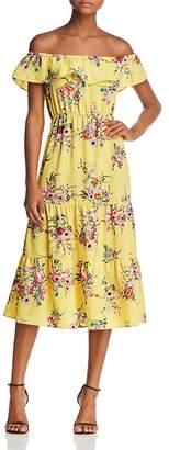 Aqua Floral Print Off-the-Shoulder Midi Dress - 100% Exclusive