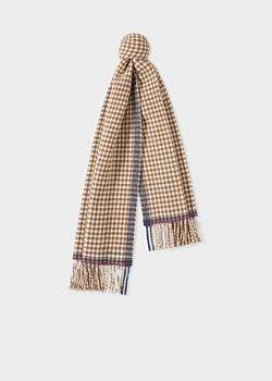 Paul Smith Women's Brown Check Double-Sided Wool Scarf