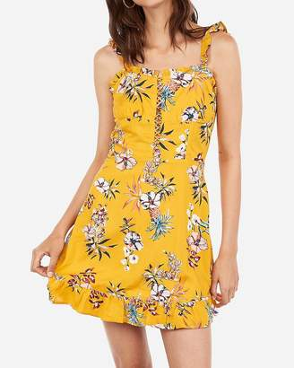 Express Pineapple Print Lace-Up Ruffle Fit And Flare Dress