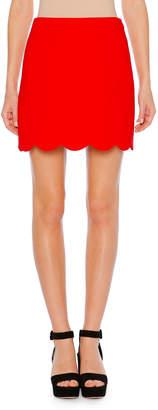 Miu Miu A-Line Cady Mini Skirt w/ Scalloped Hem