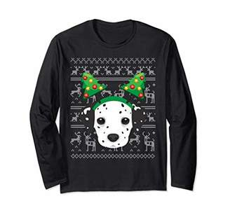Long Sleeve Dalmatian Headband Christmas Tree Ugly Sweater