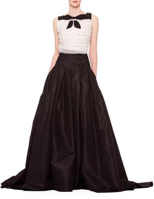 Carolina Herrera Long A-Line Silk Skirt, Black
