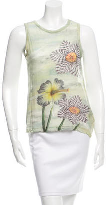 Yohji Yamamoto Floral Print Sleeveless Top w/ Tags $175 thestylecure.com