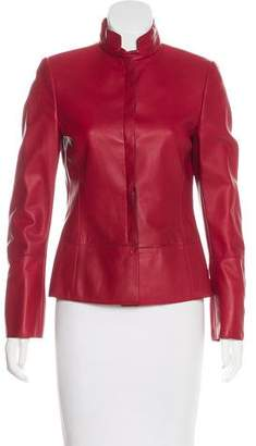 Akris Leather Button-Up Jacket