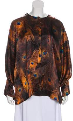 Givenchy Feather Print Silk Blouse Black Feather Print Silk Blouse