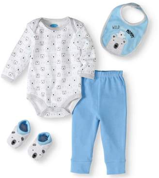 Bon Bebe Newborn Baby Boy Bodysuit, Pant, Bib & Booties, 4pc Set