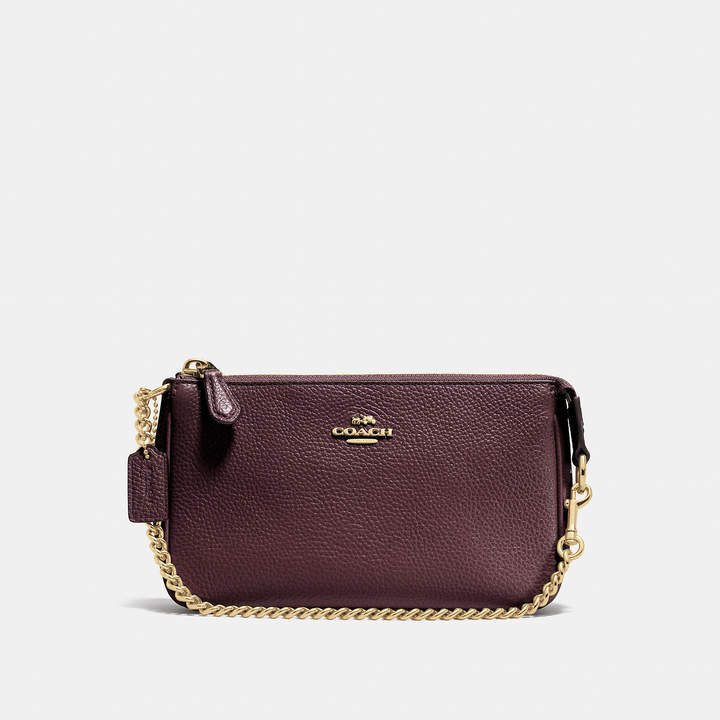 Coach   COACH Coach Nolita Wristlet 19 In Pebble Leather