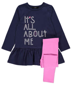 George Navy Slogan Dress and Leggings Outfit