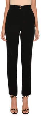 Versace Straight-Leg Front-Zip Silk Cady
