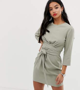 Asos DESIGN Petite tie wrap around mini dress