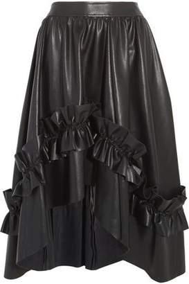 Cédric Charlier Ruffled Faux Leather Midi Skirt