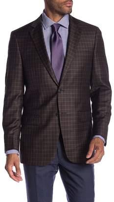 Hart Schaffner Marx Dark Brown Plaid Two Button Notch Lapel Wool Classic Fit Blazer