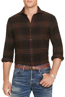 Polo Ralph Lauren Plaid Twill Suede Elbow Classic Fit Button-Down Shirt $165 thestylecure.com