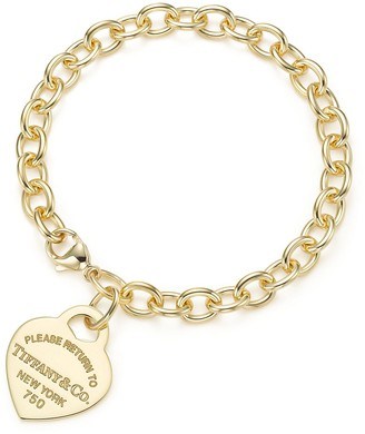 Tiffany & Co. Return to TiffanyTM medium heart tag in 18k gold on a bracelet, medium - Size Medium