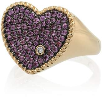Yvonne Léon Pink 18K gold diamond and sapphire heart ring