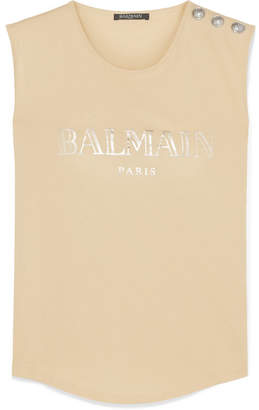 f82abfd546ef8 Balmain Button-embellished Printed Cotton-jersey Tank
