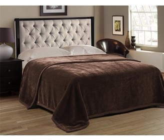 HIG Premium Heavy Blanket Brown Color with Double Layers Reversible Plush Raschel Blanket Solid Color - Supersoft, Warm, Silky, Hypoallergenic, Fade resistant in Queen Size