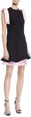 Calvin Klein Bow-Shoulder Fluted-Hem Layered Viscose Cady Dress