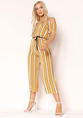 e60325a8e1 Missy Empire Missyempire Jemima Mustard Stripe Cold Shoulder Jumpsuit