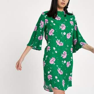 River Island Womens Green floral high neck swing dress