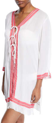 Letarte Tie-Front Fringe Coverup Tunic
