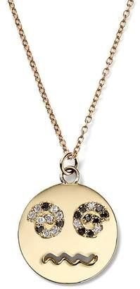 Alison Lou Medium Diamond Spiral Eyes Happy Face Necklace