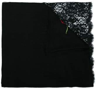 Janavi black corner rose lace embroidered cashmere scarf