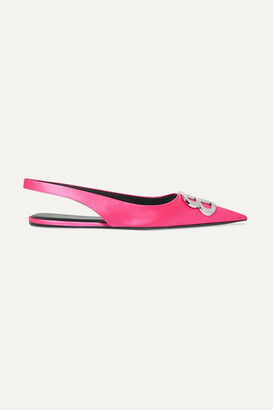 Balenciaga Knife Logo-embellished Satin Point-toe Flats - Pink