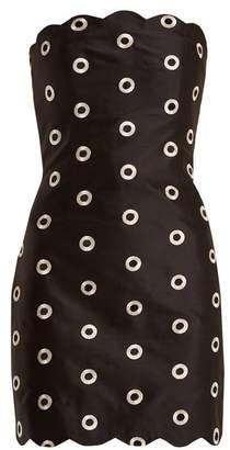 Osman Nesha Circle Embroidered Strapless Dress - Womens - Black Silver