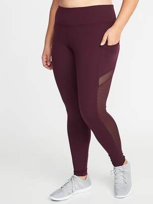 Old Navy High-Rise Elevate Mesh-Trim Compression Plus-Size Leggings