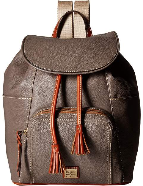 Dooney & Bourke Pebble Large Murphy Backpack Backpack Bags - ELEPHANT/TAN TRIM - STYLE