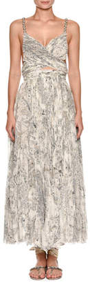 Etro Sweetheart-Neck Beaded-Strap Printed Silk Dress with Slit Midriff