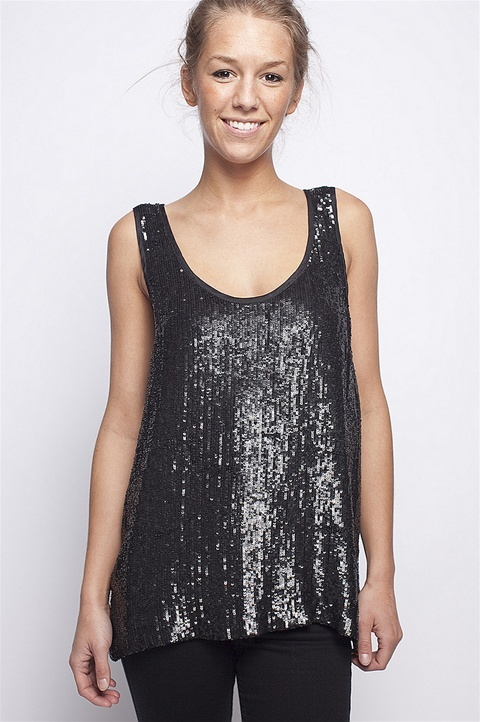 Wren Sequin Tank, Black