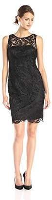 Adrianna Papell Women's Illusion Neck Lace Dress,8